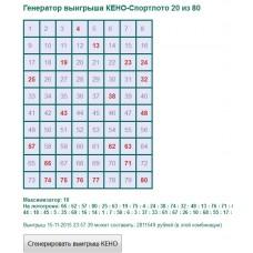 Генератор выигрыша КЕНО-Спортлото 20 из 80